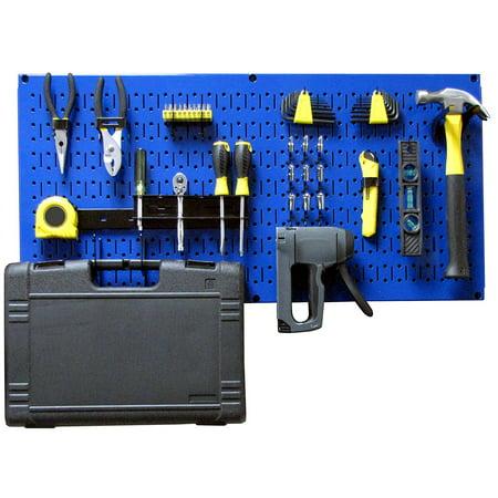 Wall Control Modular Pegboard Tool Organizer System - Wall-Mounted Metal Peg Board Tool Storage Unit for Pegboard Tiling (Blue Pegboard) Storage Unit Pegboard