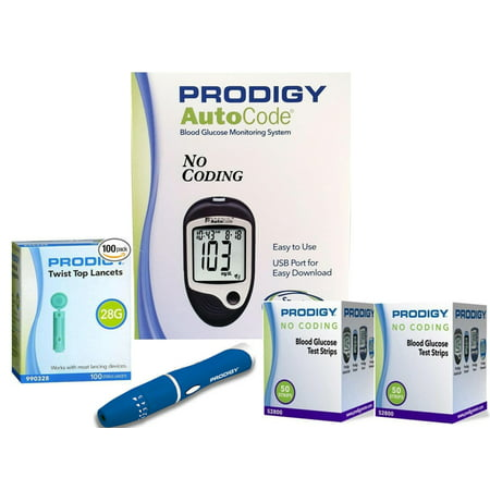 Prodigy Auto Code Diabetes Testing Kit - Prodigy TALKING Meter, 100 Prodigy Test Strips, 100 Lancets, Lancing Device, Carry Case, (Best Lancing Device For Diabetes)