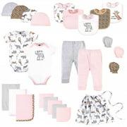 Hudson Baby Infant Girl Layette Start Set Baby Shower Gift 25pc, Modern Pink Safari, 0-6 Months