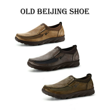Old Beijing Men's Leather Casual Shoes Breathable Antiskid Loafers Moccasins Grey/Camel/Army Green Authentic Mens Leather Loafers