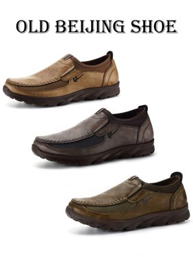 3a7dc0b1abee Product Image Old Beijing Men s Leather Casual Shoes Breathable Antiskid  Loafers Moccasins Grey Camel Army Green