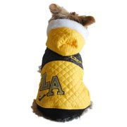 Yellow Pet Dog Puppy L.A. Fashion Bubble Quilted Faux-Fur Trim Hat Hooded Jacket - 2 Extra Small (Gift for Pet)