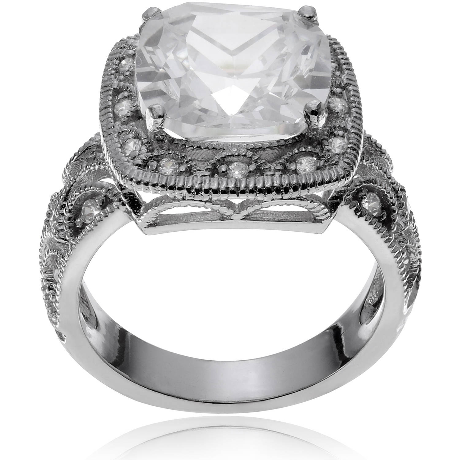 Alexandria Collection Women's Princess Cut Cubic Zirconia Silver-tone Engagement Ring
