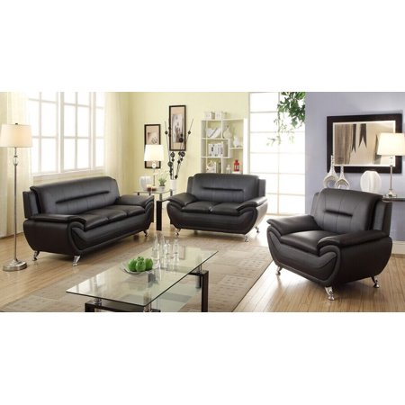 - Norton 3 pc Black Faux Leather Modern Living Room Sofa set