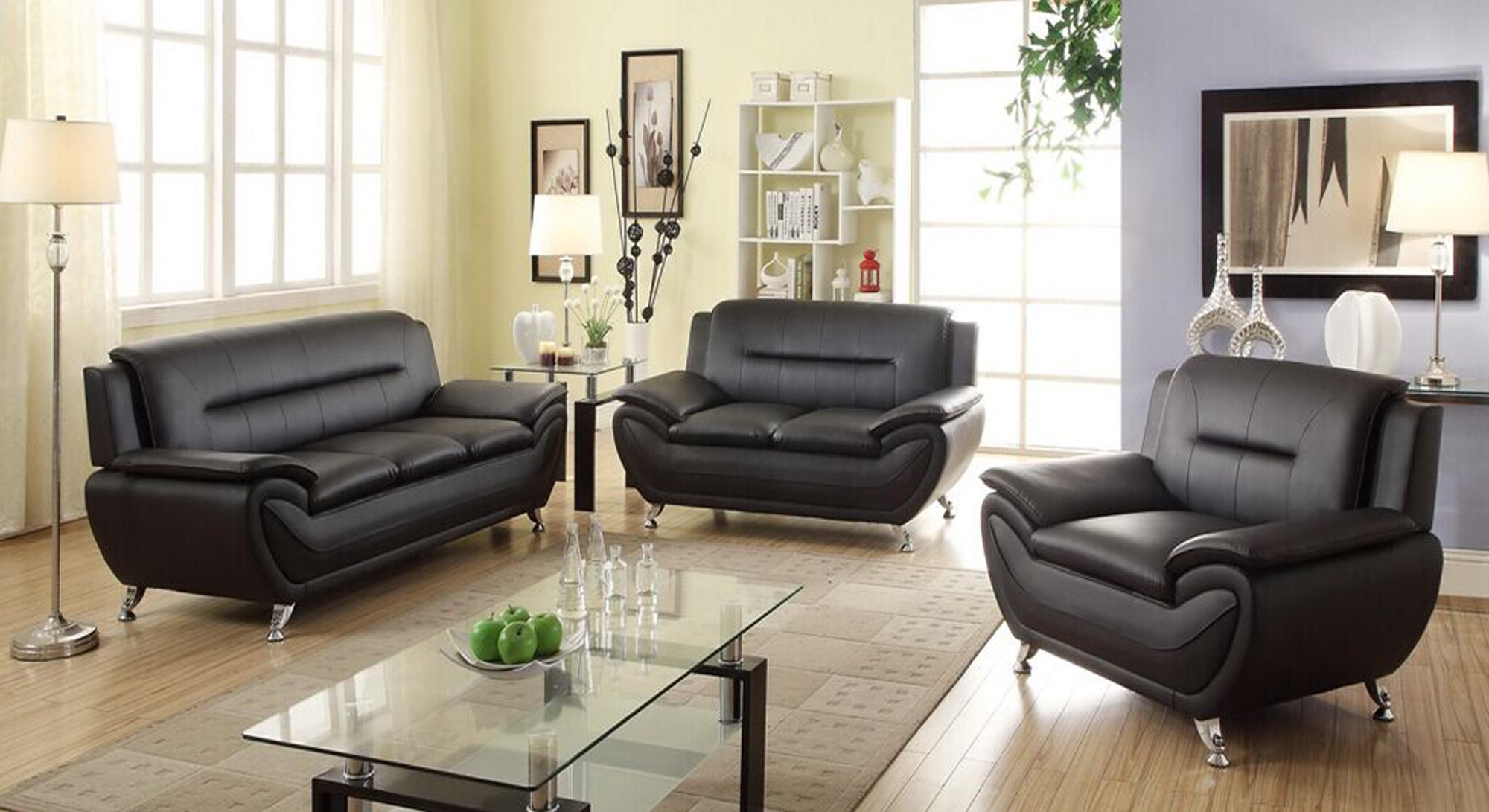 Delightful Norton 3 Pc Black Faux Leather Modern Living Room Sofa Set Part 20