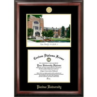 "Purdue University 7.625"" x 9.625"" Gold Embossed Diploma Frame with Campus Images Lithograph"