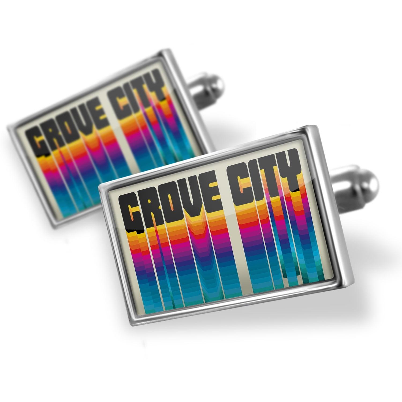 Cufflinks Retro Cites States Countries Grove City - NEONBLOND