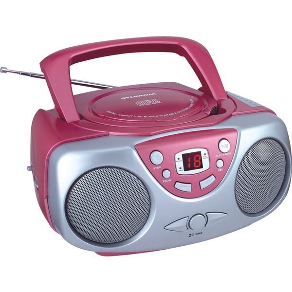 SYLVANIA(R) SRCD243M PINK Portable CD Boom Box with AM/FM Radio (Pink) - image 1 de 1
