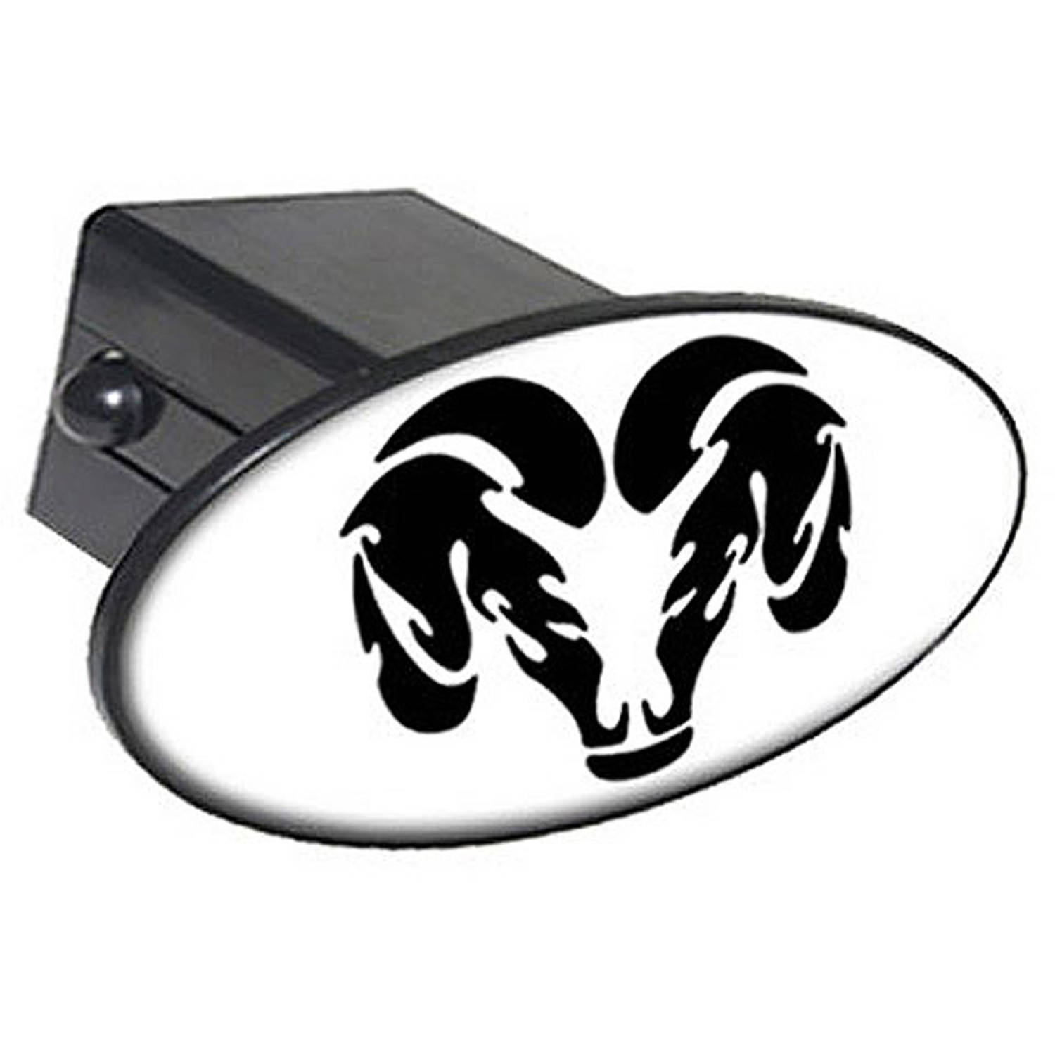 """Ram Head Black On White 2"""" Oval Tow Trailer Hitch Cover Plug Insert"""