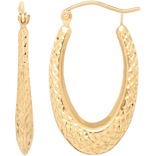 Simply Gold Oval Hoop Earrings in 10kt Yellow Gold