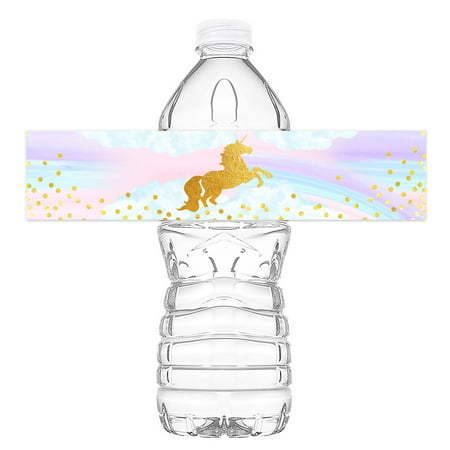 Magical Unicorn Bottle Wraps - 20 Unicorn Water Bottle Labels - Unicorn Rainbow Decorations - Made in the - Star Wars Water Bottle Labels