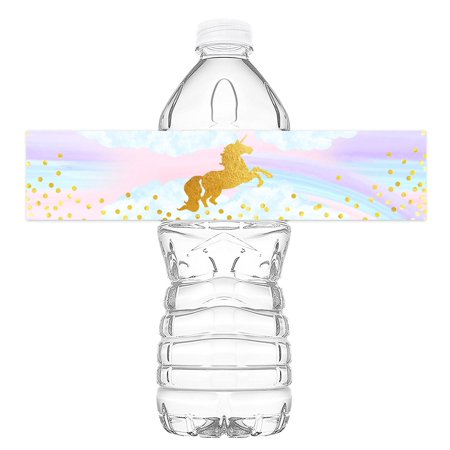 Magical Unicorn Bottle Wraps - 20 Unicorn Water Bottle Labels - Unicorn Rainbow Decorations - Made in the - Cheap Water Bottle Labels