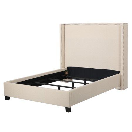 Leather Bed Set - Parker Fully Upholstered Fabric Cal King Bed Set, Natural Color