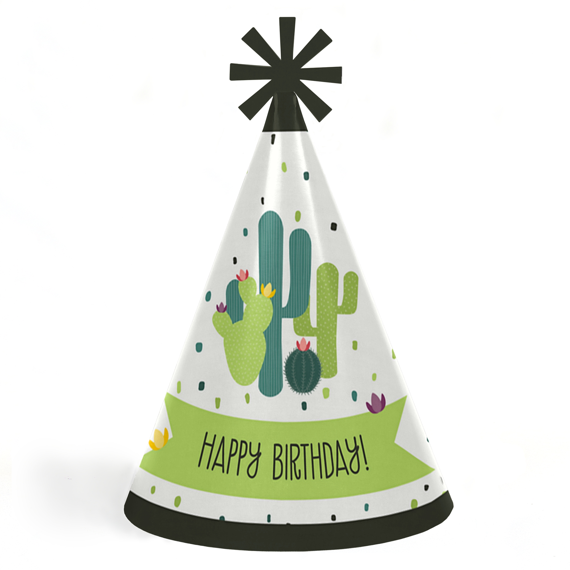 Prickly Cactus Party - Cone Happy Birthday Party Hats for Kids and Adults - Set of 8 (Standard Size)