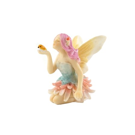 Top Collection Miniature Garden & Terrarium Fairy Statue (Flower Fairy with Bird) (Bird Garden Statue)