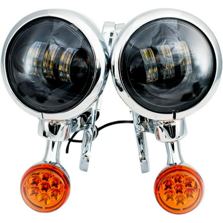 Rivco Products MV190 4.5in. LED Auxiliary Lights with Turn Signals - Chrome Brackets/Light Housings