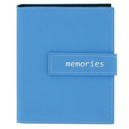 Pioneer Photo Albums 36-Pocket 4 by 6-Inch Embroidered Memories Strap Sewn Leatherette Cover Photo Album, Mini, Blue