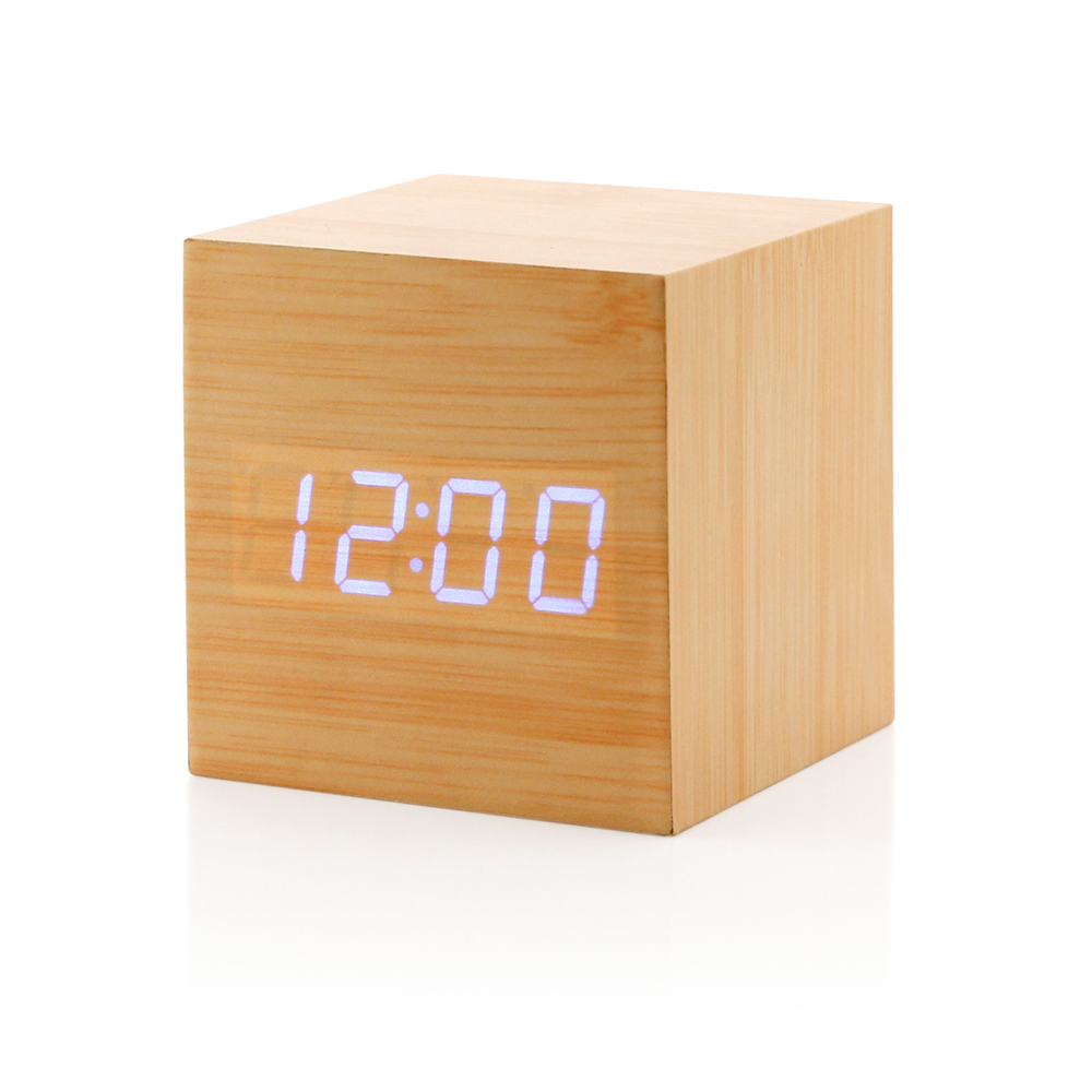 Uncategorized Wood Alarm Clock ultra modern wooden led clock square cube digital alarm thermometer timer calendar updated 2016 brighter stylish wood walmart com