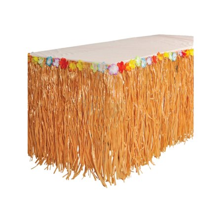 Hawaiian Luau Artificial Flower Grass Table Skirt Party Decoration (Hawaiian Party Decoration)