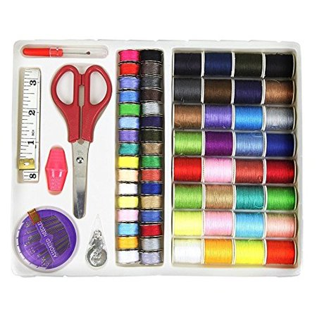 HAITRAL 100 Piece Sewing Thread Kit, Sewing Machine Starter Kit, Multi-color, Polyester Material, Efficient Stitching, Travel Kit, Thread Storage Organizer, Scissors, Measuring Tape, Needles (HT-AS01) - Needle Thread Quilting Machines