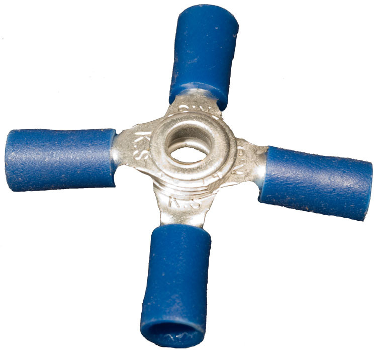 Morris Products Vinyl Insulated 4''-Way Connectors in Blue with 16''-14''Wire (Set of 100)