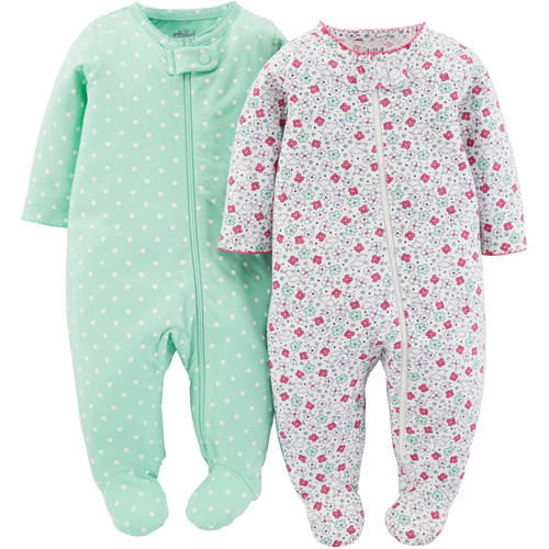 Child Of Mine Made By Carter's Newborn Baby Girl Sleep N Play, 2 Pack