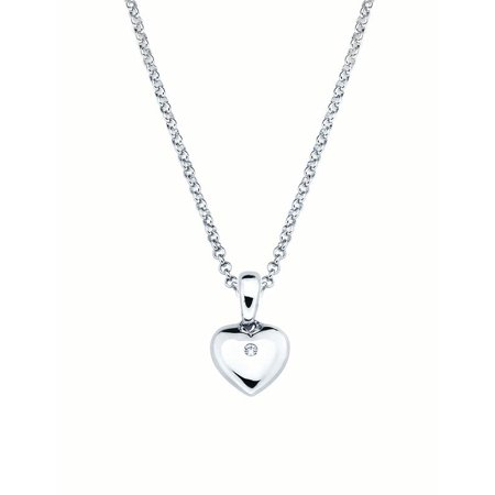 925 Sterling Silver Diamond Accent Heart Shaped Pendant w/ Chain for Girls