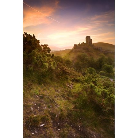 Romantic Fantasy Magical Castle Ruins against Stunning Vibrant Sunrise Print Wall Art By -