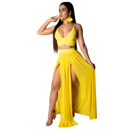 AliExpress EBAY Explosion Summer Women's Europe and America Camisole Chiffon Skirt Two-piece Yellow G0182 S - image 1 de 1
