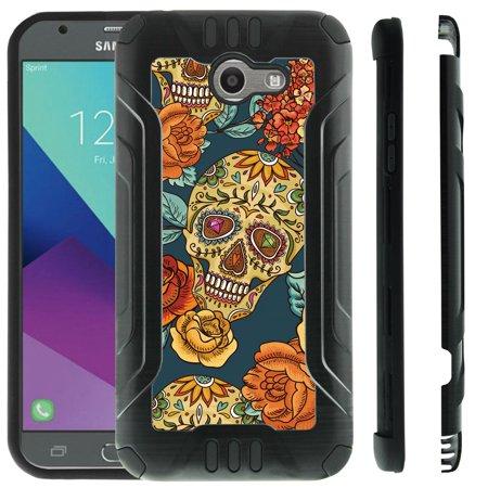 Design Case for [Samsung Galaxy J3 Emerge | J3 Prime | Eclipse | Luna Pro 2017] [Pro-Tech] Brushed Metal Texture Hybrid Case Dual Layer by Miniturtle - Flower Sugar Skull for $<!---->