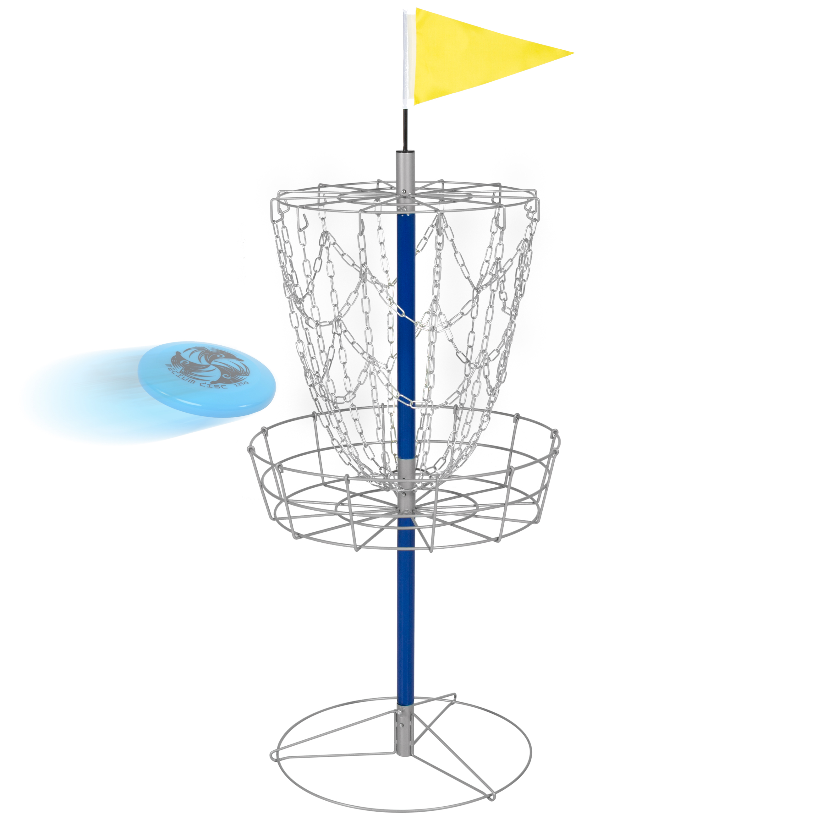 Best Choice Products Portable Disc Golf Basket Double Chains Steel Frisbee Hole