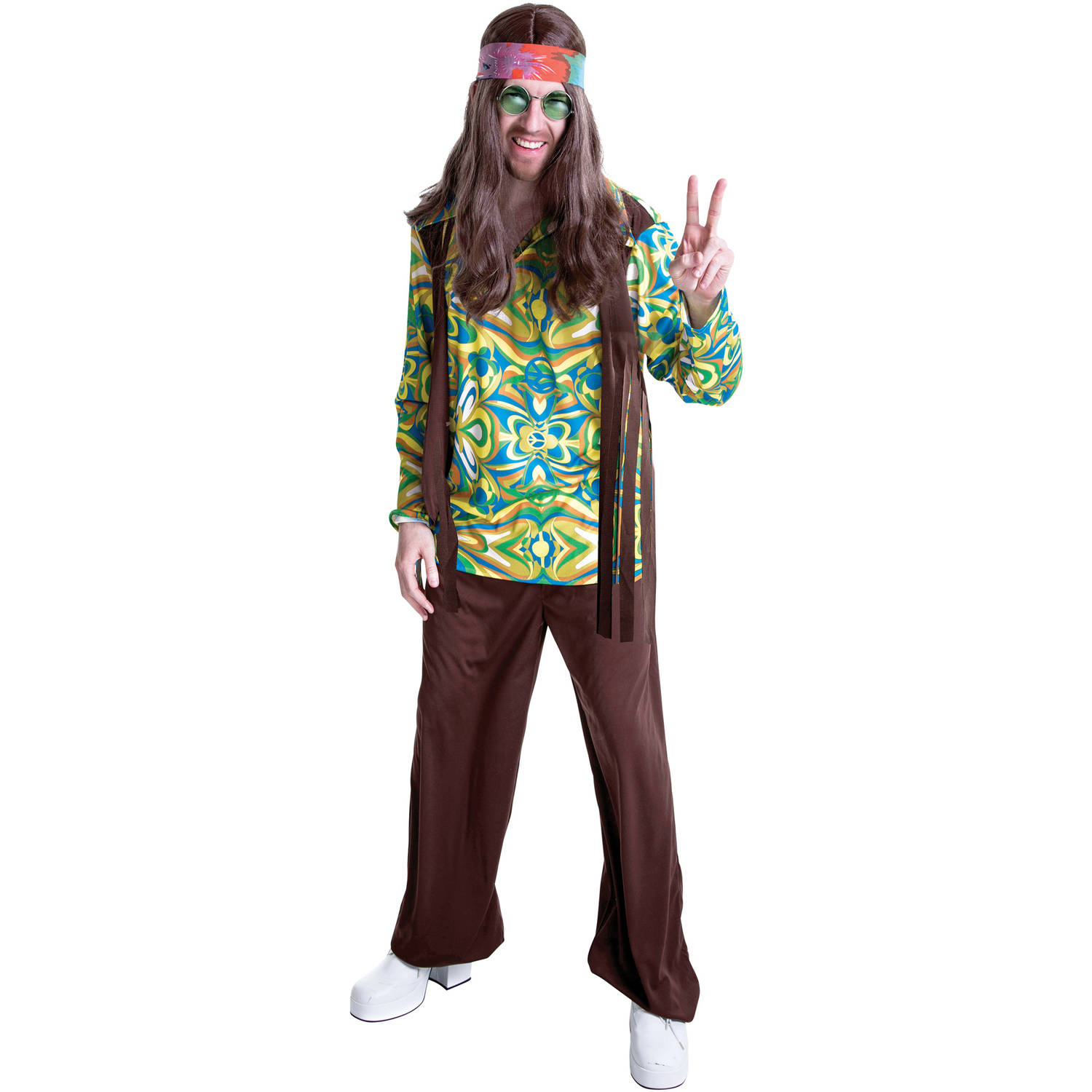 sc 1 st  Walmart & Hippie Menu0027s Adult Halloween Dress Up / Role Play Costume - Walmart.com