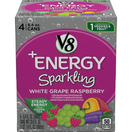 V8 +Energy Sparkling Healthy Energy Drink, Natural Energy from Tea, White Grape Raspberry, 8.4 Oz Can (4 Count)