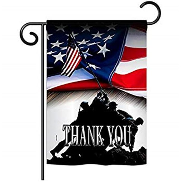 Breeze Decor G161088 Bo Thank You Americana Patriotic Impressions Decorative Vertical 13 X 18 5 Double Sided Garden Flag Walmart Com Walmart Com
