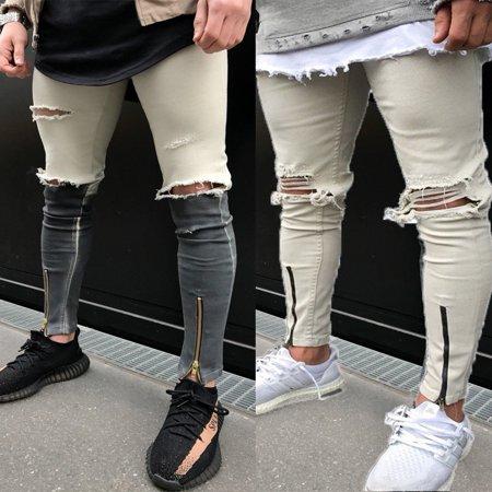 81474794b8e Emmababy - Men s Ripped Jeans Super Skinny Slim Fit Denim Pants Destroyed Frayed  Trousers - Walmart.com