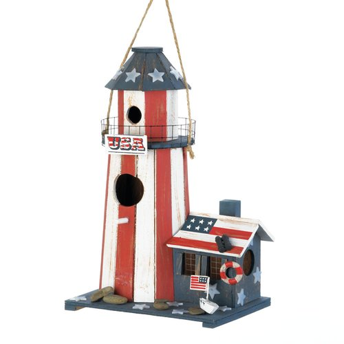Zingz & Thingz Patriotic Lighthouse 12 in x 8 in x 5.5 in Birdhouse by Songbird Valley