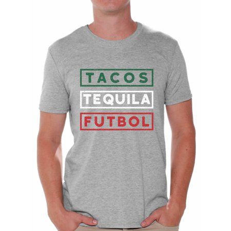 Awkward Styles Tacos Tequila Futbol Shirt for Men Mexico Shirt Tacos and Tequila Futbol Fan T Shirts Men's Mexican Soccer Tee Shirt Tacos & Tequila Tshirt Mexican Shirts Taco Tuesday Gifts for Men