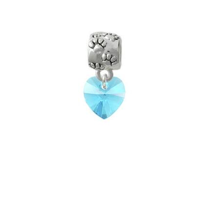 Hot Blue Crystal Heart - Paw Print Charm Bead