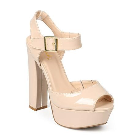 ea4572cf5a5b Qupid - Qupid EA23 Women Patent Peep Toe Retro Block Heel Platform Sandal -  Walmart.com