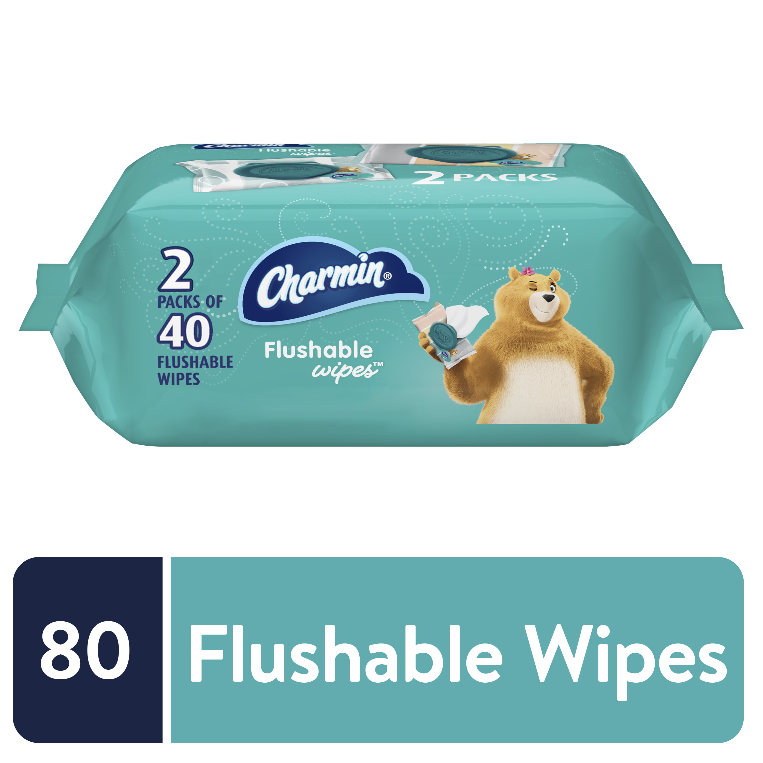 Charmin Flushable Wipes, 2 packs, 40 Wipes Per Pack, 80 Total Wipes
