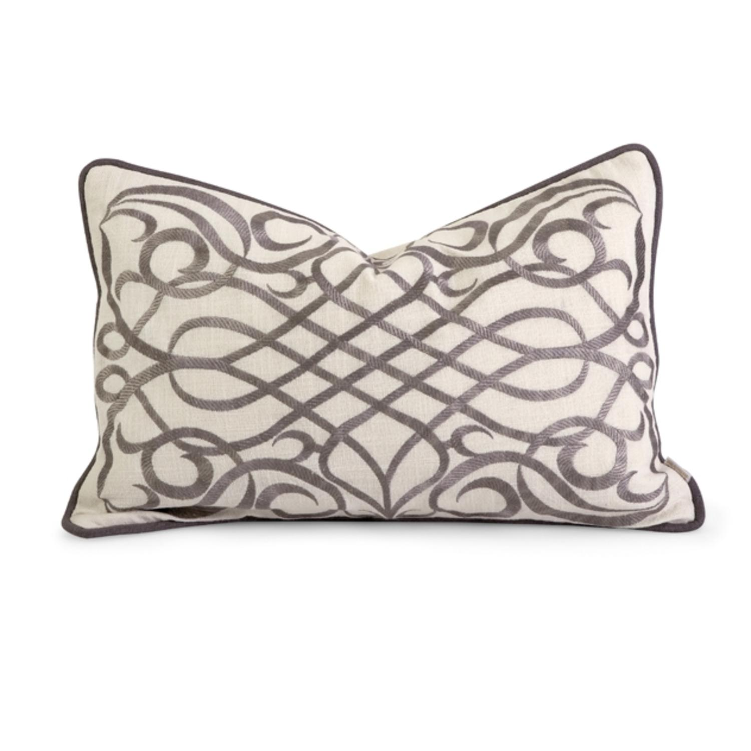 "20"" Luxurious Off-White and Grey Embroidered Cotton Down Decorative Throw Pillow"