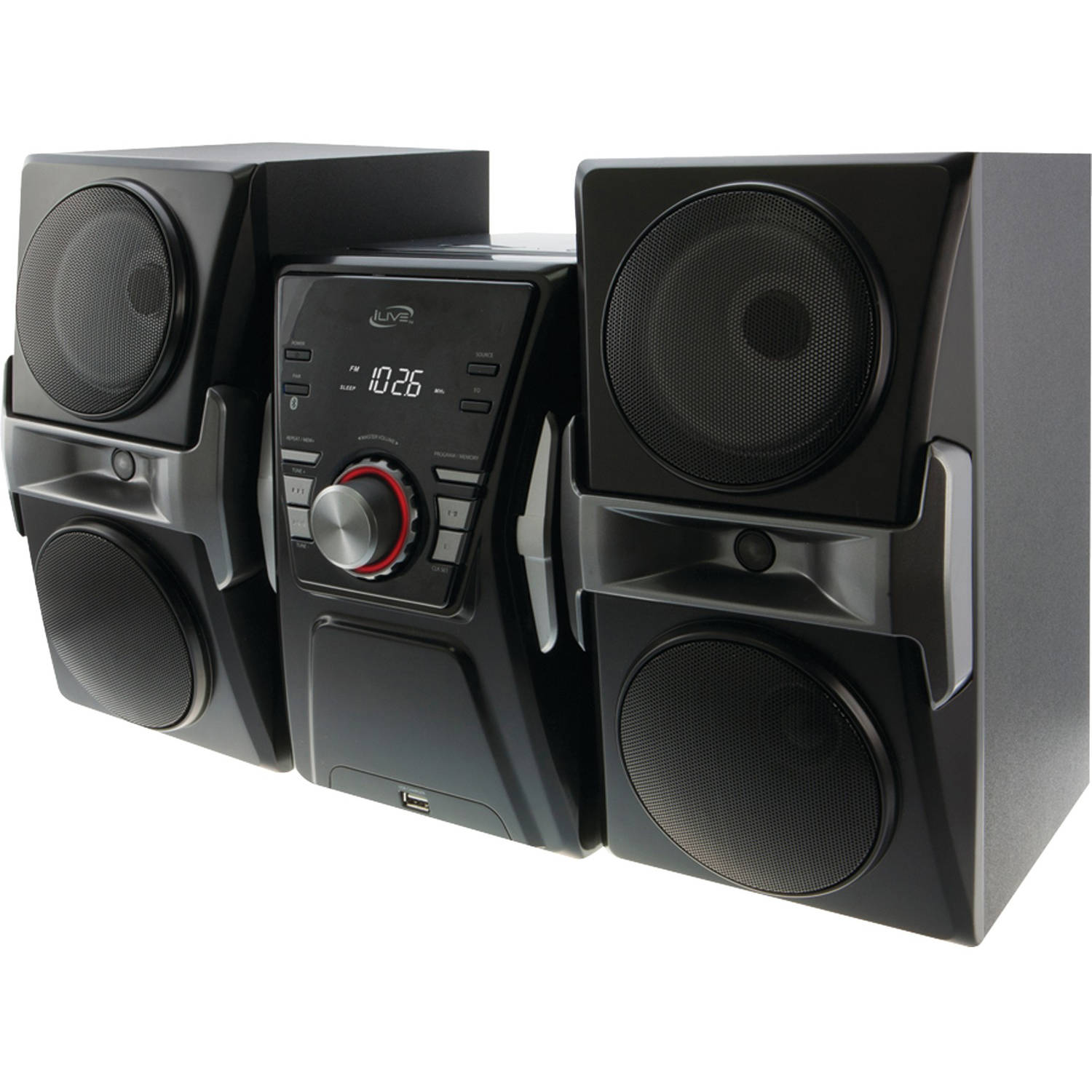 iLive IHB624B Bluetooth Home Music System with FM Tuner and LED Lights
