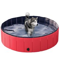 Large Foldable Pet Swimming Pool Pet Bath Pool Wash Tub Dogs Cats Bathing Tub, Red (Various Sizes)