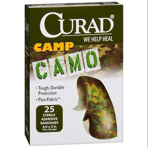 Curad Camp Camo Bandages One Size Brown 25 Each (Pack of 6)