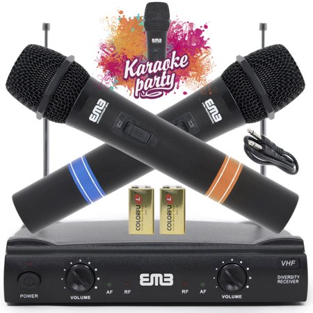 Genuine EMB Professional Wireless Microphone System Dual Handheld 2 x Mic Cordless Receiver