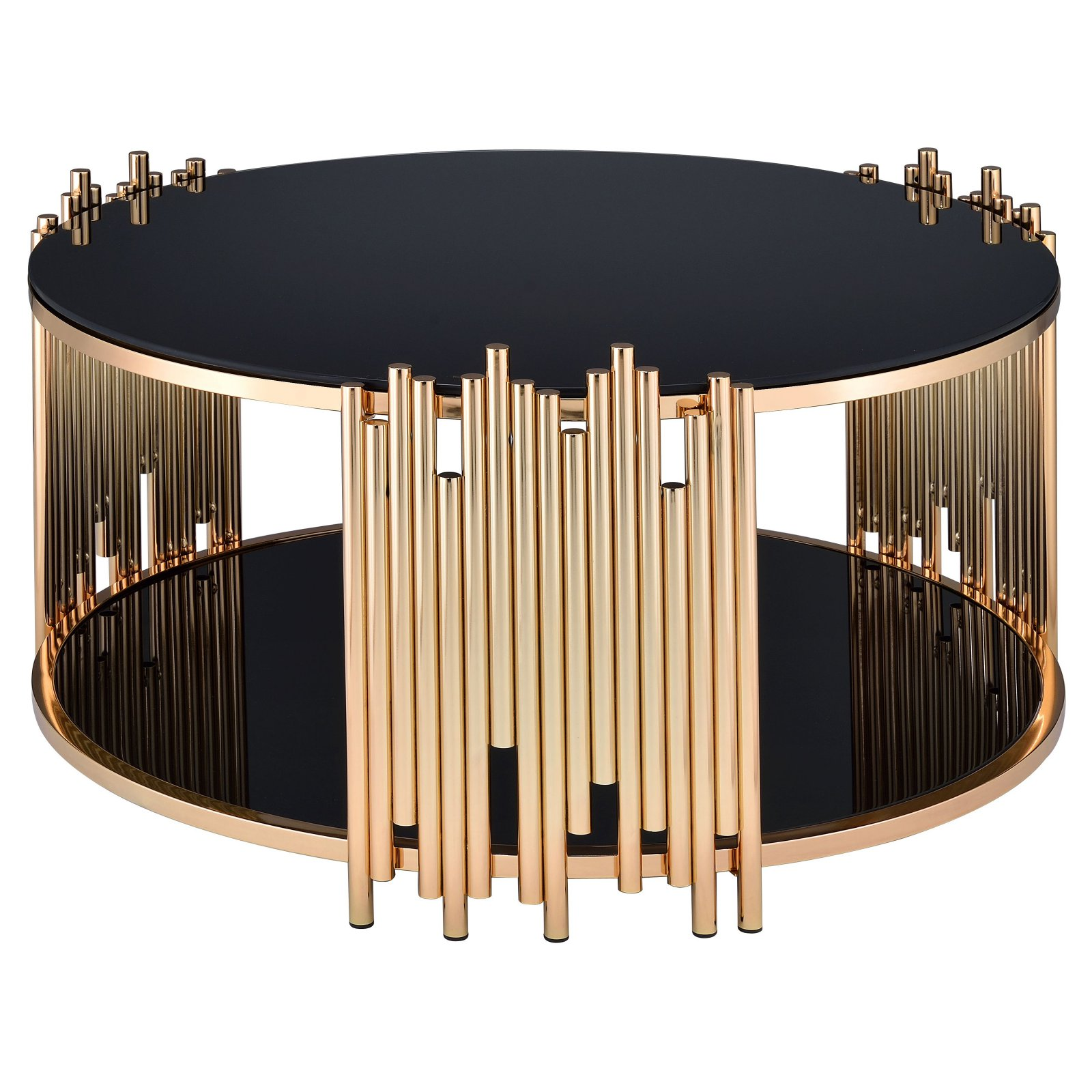 Acme Furniture Tanquin Coffee Table, Black Glass & Gold