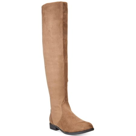 Wanted Flatland Taupe vegan Suede Over Knee / Cuff Scrunch Slouchy Flat (Suede Scrunch Boot)