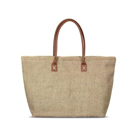 Zodaca Women Jute Shoulder Handbag Lightweight Tote Bag for Travel Beach Park Grocery Shopping ()