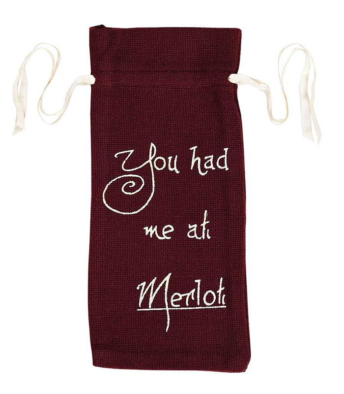 "Burlap Merlot Wine Bag Stencil ""You Had Me At Merlot"" 13x6.5 by VHC Brands"