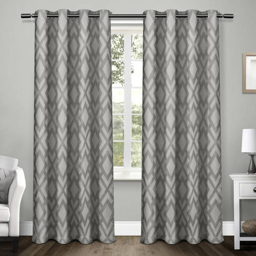 Exclusive Home Easton Jacquard Blackout Window Curtain Panel Pair with Grommet Top